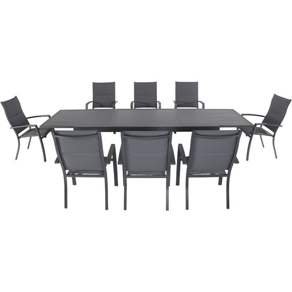 "Hanover Naples 9-Piece Outdoor Dining Set with 8 Padded Sling Chairs in Gray and a 40"" x 118"" Expandable Dining Table"