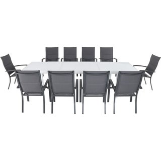 """Hanover Del Mar 11-Piece Outdoor Dining Set with 10 Padded Sling Chairs in Gray and a 40"""" x 118"""" Expandable Dining Table"""