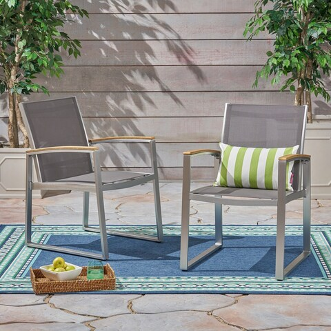 Glasgow Outdoor Dining Chairs with Aluminum Frame (Set of 2) by Christopher Knight Home