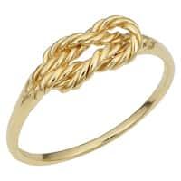 Fremada Italian 14k Yellow Gold Twisted Design Love Knot Ring
