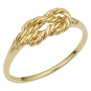 Fremada Italian 14k Yellow Gold Twisted Design Love Knot Ring