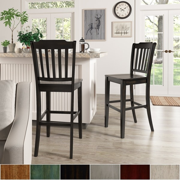 Eleanor Slat Back Bar Height Chairs (Set of 2) by iNSPIRE Q Classic. Opens flyout.