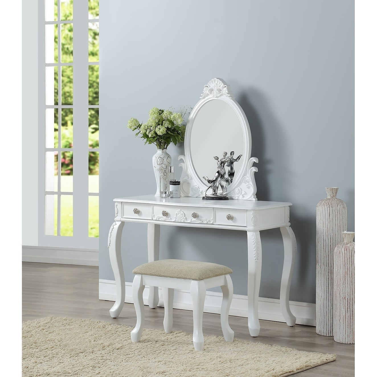 Bobkona White Wood Finish Oval Shape Mirror Vanity Set With Stool And 3 Drawers Overstock 21893190