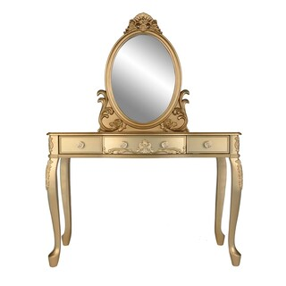 Bobkona White Wood FInish Oval-shape Mirror Vanity Set with Stool and 3 Drawers
