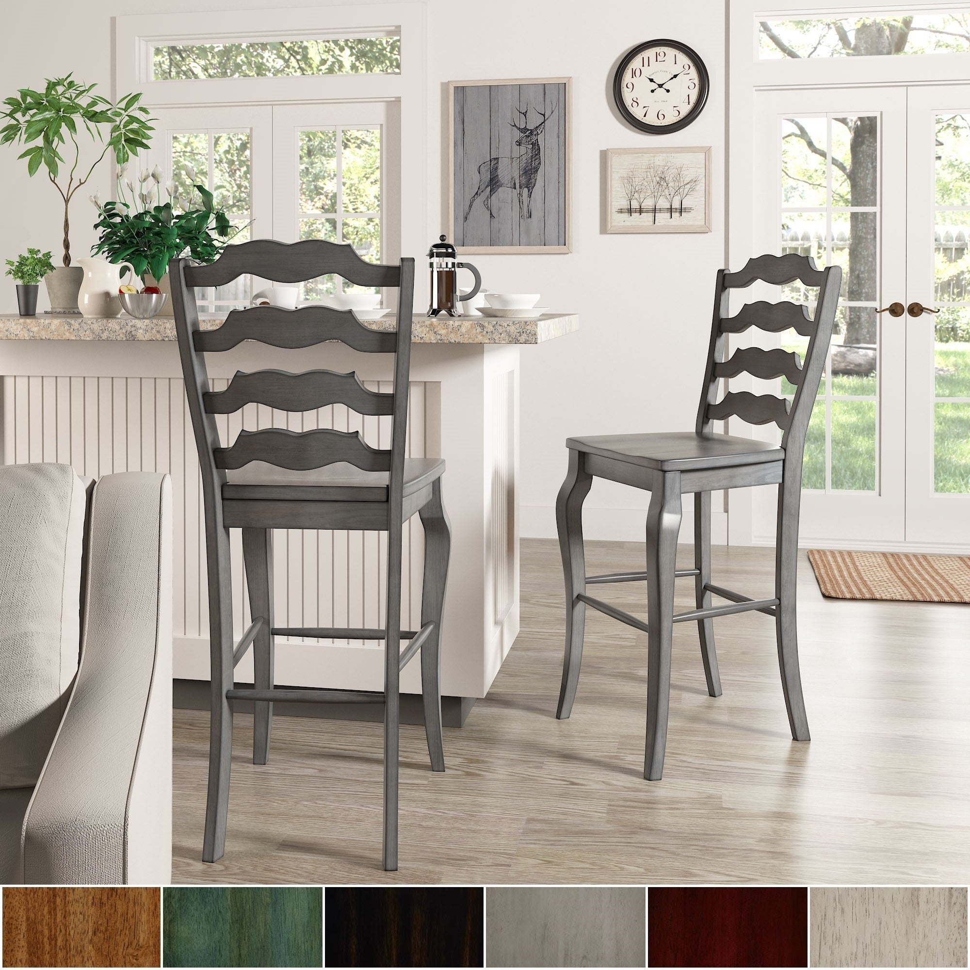 Eleanor French Ladder Back Bar Height Chairs Set Of 2 By Inspire Q Classic