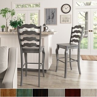 Eleanor French Ladder Back Bar Height Chairs (Set of 2) by iNSPIRE Q Classic