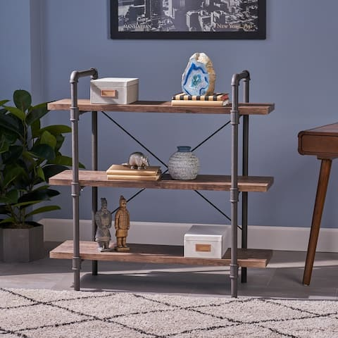 Indiana Industrial 3 Shelf Faux Wood Bookcase by Christopher Knight Home
