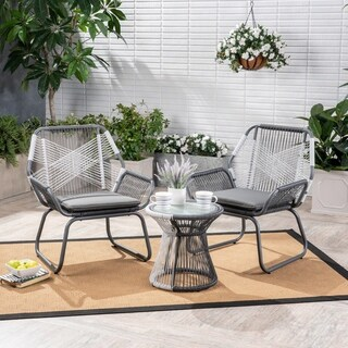 Milan Outdoor 3 Piece Wicker Chat Set by Christopher Knight Home