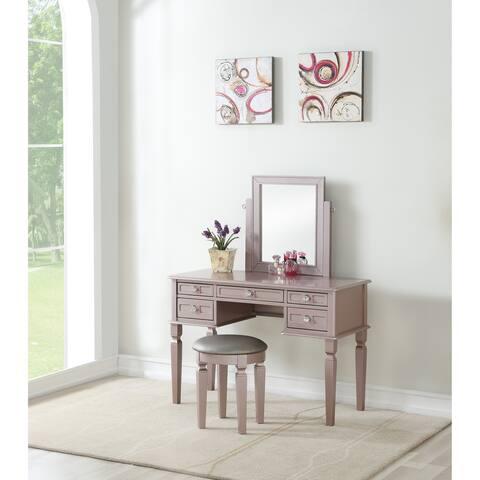 Bobkona Rectangular shape mirror Vanity set w/ stool and 5 drawers