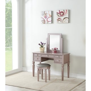Bobkona Rectangular shape mirror Vanity set w/ stool and 5 drawers (4 options available)