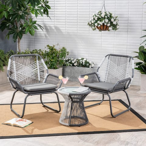 Idaho Outdoor 3 Piece Woven Chat Set by Christopher Knight Home