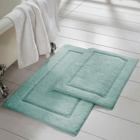 Modern Threads 2-Pack Solid Loop With Non-Slip Backing Bath Mat Set
