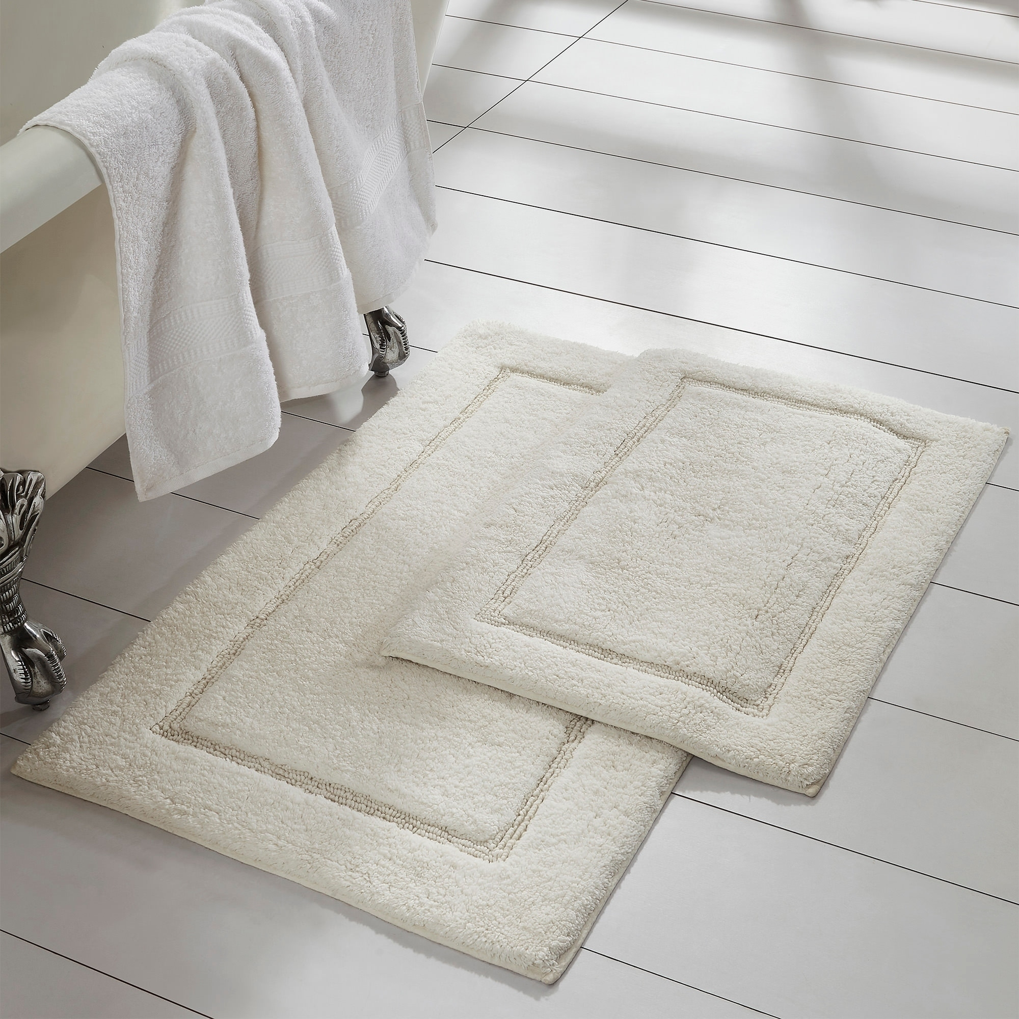 Amrapur Overseas 2 Pack Solid Loop With Non Slip Backing Bath Mat Set