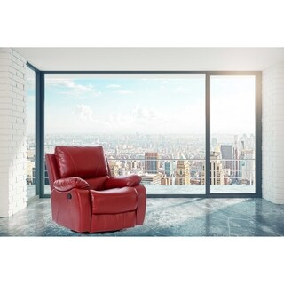 Eddie Red Faux Leather 6 Points Heated Vibrating Massage Manual Recliner Arm Chair