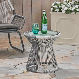 Milan Outdoor Faux Rattan Side Table with Glass Top by Christopher Knight Home