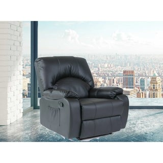 Kylan Black Faux Leather Heated Vibrating Massage Recliner Arm Chair