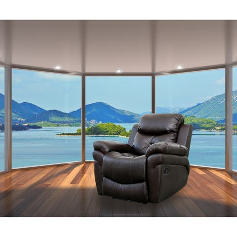 Rohan Dark Brown Faux Leather 6-points Heated Vibrating Massage Manual Recliner Arm Chair