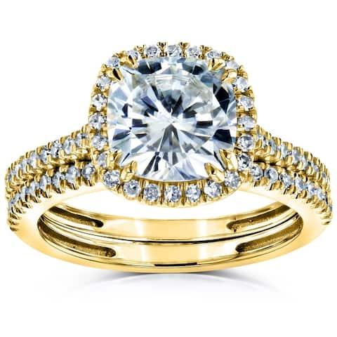 Annello by Kobelli 14k Gold 2 3/8ct TGW Moissanite/Diamond Cushion Halo Bridal Rings Set