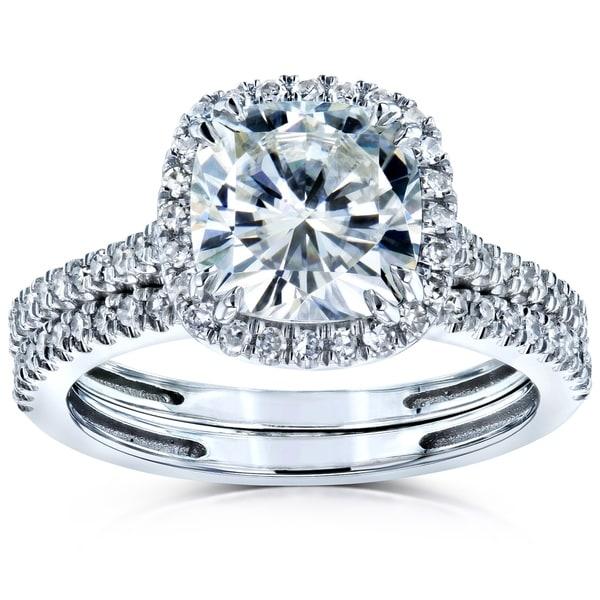 Annello by Kobelli 14k Gold 2 3/8ct TGW Moissanite/Diamond Cushion Halo Bridal Rings Set. Opens flyout.