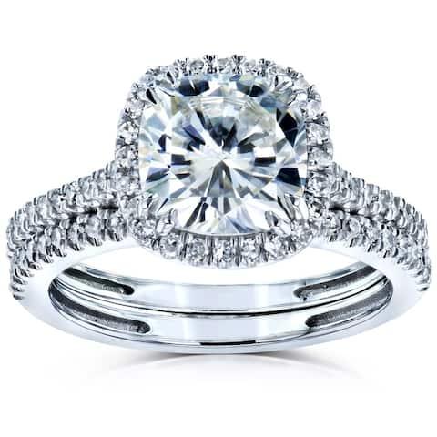 Annello by Kobelli 14k Gold 2 3/8ct TGW Moissanite and Diamond Cushion Halo Bridal Rings Set (HI/VS, GH/I)