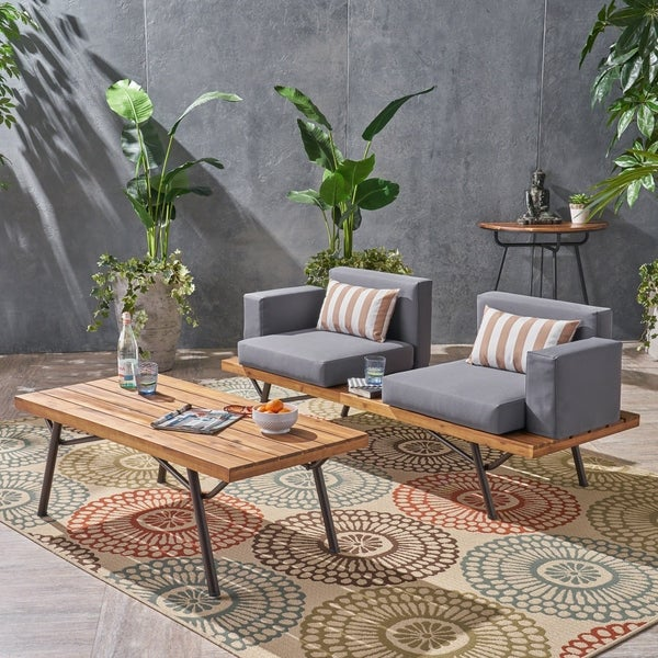 9beec9b888e3 Canoga Outdoor Industrial Loveseat with Coffee Table by Christopher Knight  Home
