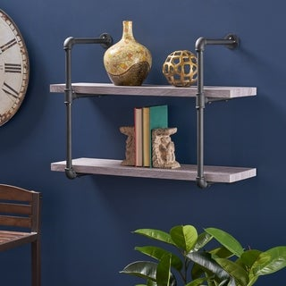 Tarian Industrial Two Tier Wall-Mounted Shelf by Christopher Knight Home