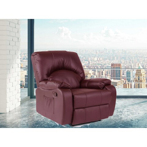 Kylan Burgundy Faux Leather/Wood 6 Points Heated Vibrating Massage Manual Recliner Arm Chair