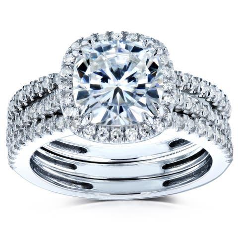 Annello by Kobelli 14k Gold 2 1/2ct TGW Moissanite and Diamond Cushion Halo 3-Piece Bridal Rings Set (GH/VS, GH/I)
