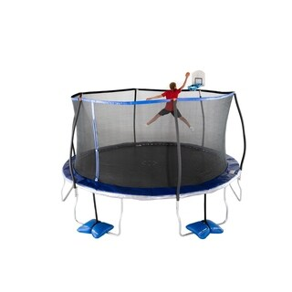 TruJump 15-Feet Trampoline with Tru-Steel Enclosure and AirDunk Basketball System