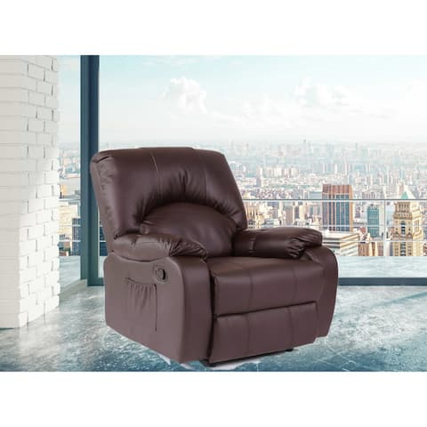 Kylan Dark Brown Faux Leather 6 Points Heated Vibrating Massage Manual Recliner