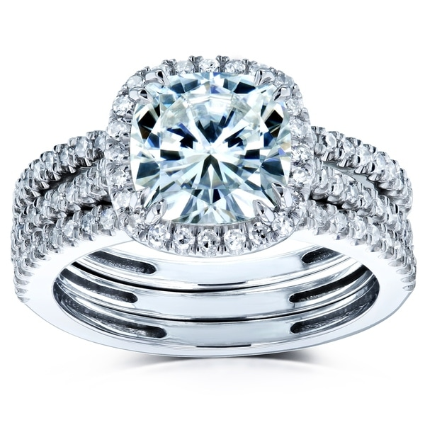 Forever One Moissanite Diamonds Cushion Halo Wedding Set