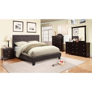 Link to Furniture of America Perdella 4-piece Grey Low Profile Bedroom Set Similar Items in Bedroom Furniture