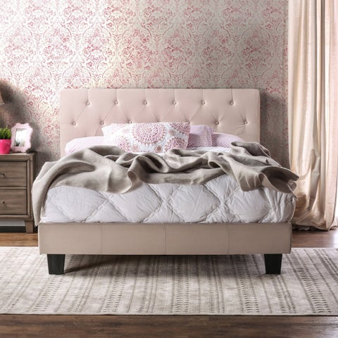 Perdella Contemporary Padded Low Profile Platform Bed by FOA