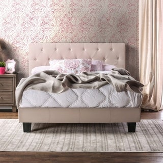 Furniture of America Perc Contemporary Fabric Padded Platform Bed