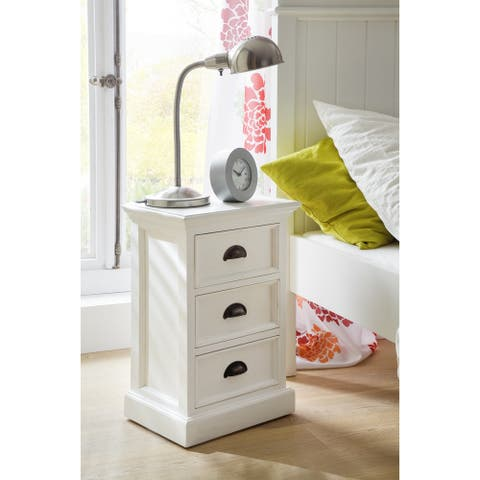 NovaSolo 3-drawer White Mahogony Bedside Table