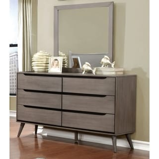 Corrine Mid-Century Modern 2-piece Dresser and Mirror Set by FOA