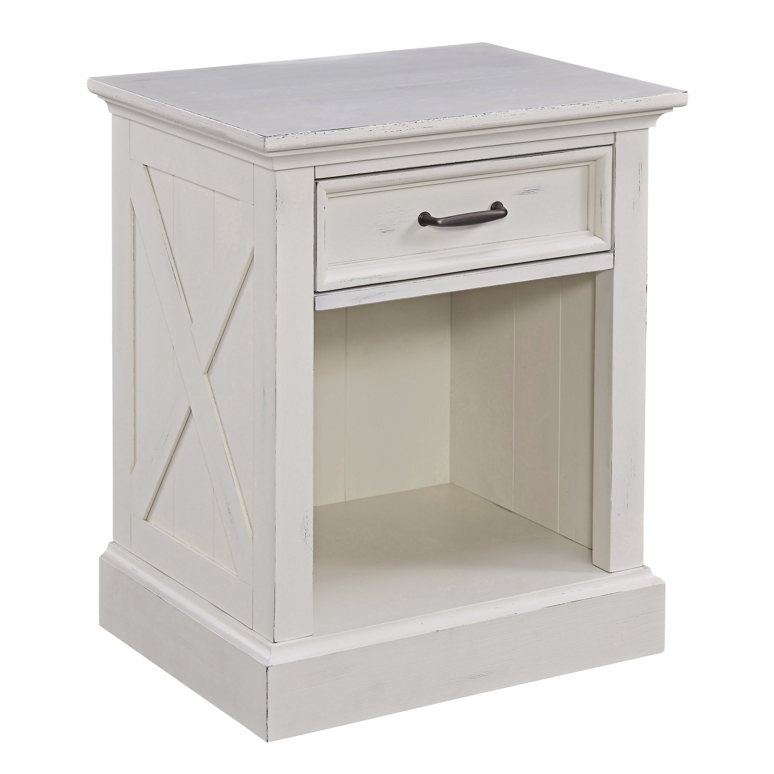 The Gray Barn Riverbone X Detail White Wood Nightstand