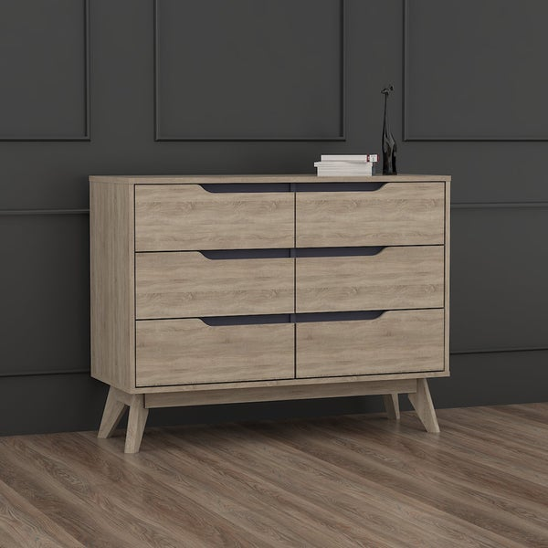 Carson Carrington Eskilstuna Mid-century Oak and Grey Wood 6-drawer Chest