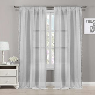 Link to Duck River Semi Sheer Pom Pom Bordered Rod Pocket Window Curtain Panel Pair Similar Items in Curtains & Drapes