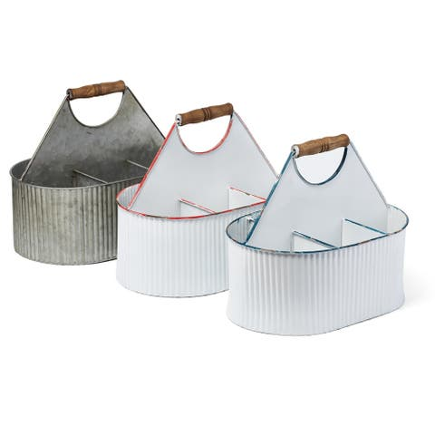 Utensil Caddies with Handle on Top Assortment of 3 White and Gray