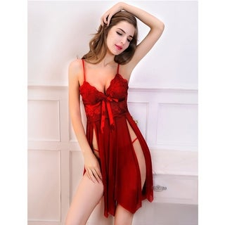 Acappella Sexy Sleep Dress Mesh Floral Lace Satin Bow