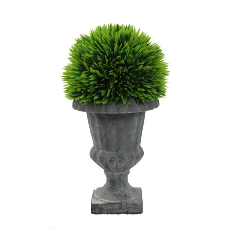 Faux Lemon Grass Topiary With in Urn, Green - N/A