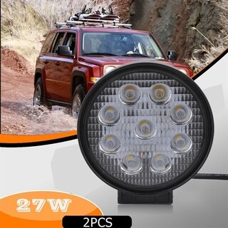 2pcs/set Car High Brightness Off Road Light Round Shape 27W