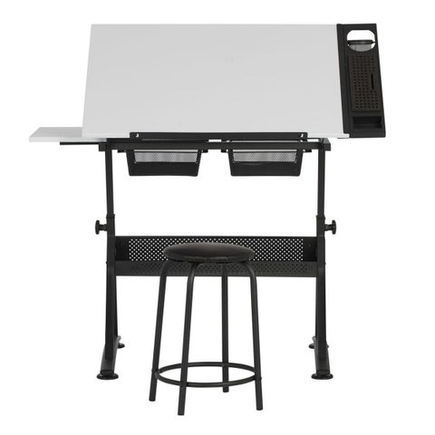 """Offex Fusion Craft Center with 24"""" Tray and Stool - Charcoal / White"""
