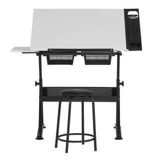 "Offex Fusion Craft Center with 24"" Tray and Stool - Charcoal / White"