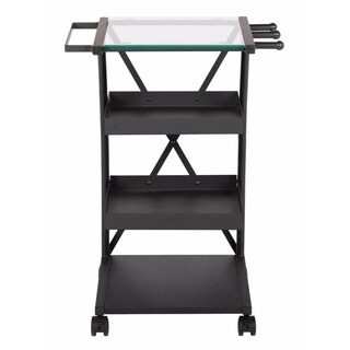 Offex Triflex Clear Glass Taboret with Steel Frame - Charcoal