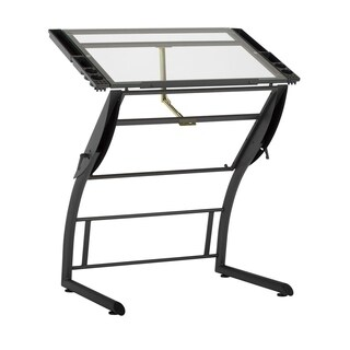 Offex Triflex Clear Glass Drawing Table - Charcoal