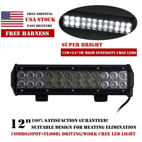 72W LED Light Bar Flood Spot Boat Driving Lamp Offroad 4WD 12 Inch