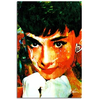 Mark Lewis 'Audrey Hepburn Tiffany Delight' 22in x 32in Celebrity Pop Art on Plexiglass