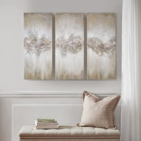 Madison Park Taupe Luminous Hand Painted Canvas